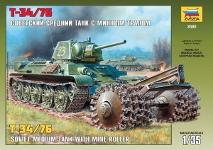 3580 Soviet T-34/76 Tank With Mine Roller