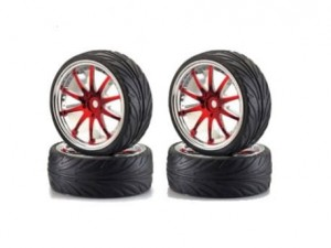 Koła 1:10 26mm Big Wheel Set 2 Red-Chrome (4) Carson 500900078