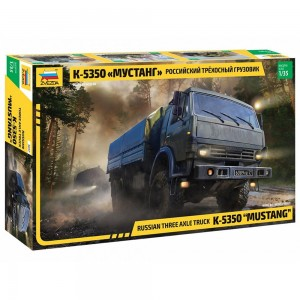 "NEW! Zvezda 3697 Russian Three-Axle Army Truck KamAZ-5350 ""Mustang"""