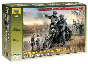 3632 German R-12 Heavy Motorcycle with rider and officer