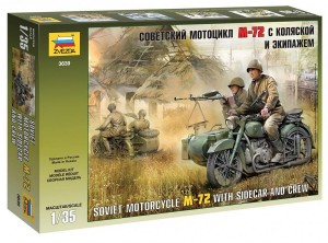 3639 Soviet Motorcycle M-72 with sidecar and Crew